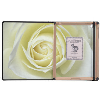Close up details of white rose case for iPad