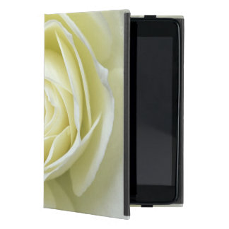 Close up details of white rose case for iPad mini
