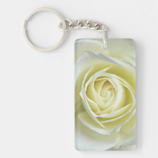 Close up details of white rose Double-Sided rectangular acrylic key ring