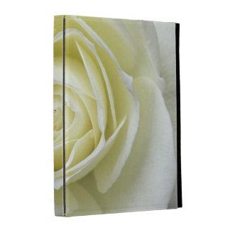 Close up details of white rose iPad folio cover