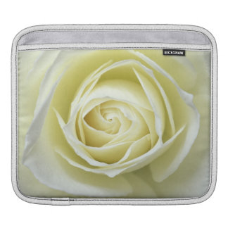 Close up details of white rose iPad sleeve