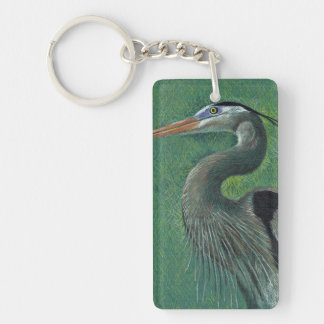 Close up heron Single-Sided rectangular acrylic key ring