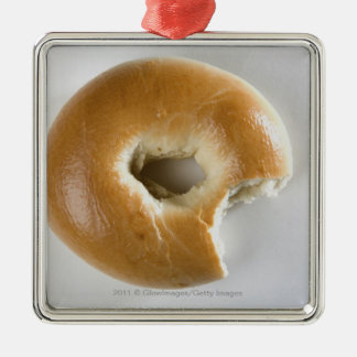 Close-up of a bagel Silver-Colored square decoration