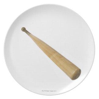 Close up of a baseball bat plates