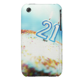 close-up of a birthday cake with a 21 candle on Case-Mate iPhone 3 cases