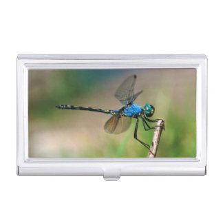 Close-Up Of A Blue Dragon Fly On A Branch Business Card Holders