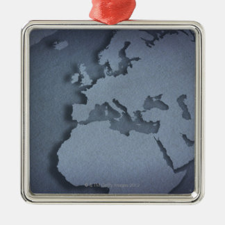 Close-up of a blue globe showing North Africa, Silver-Colored Square Decoration