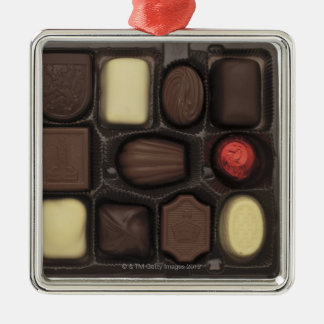 close-up of a box of assorted chocolates christmas ornament
