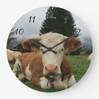 Close up of a brown and white cow laying down wall clock