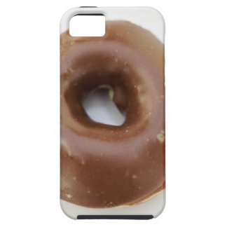 Close-up of a chocolate doughnut on a plate iPhone 5 covers