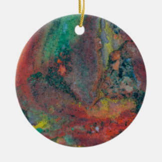 Close up of a Christmas Jasper Round Ceramic Decoration
