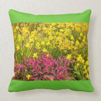 close-up of a coloured flowering  on throw pillow