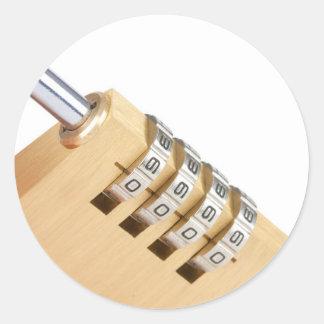 close up of a combination padlock  lock round sticker