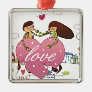 Close-up of a couple holding a heart shape Silver-Colored square decoration