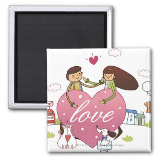 Close-up of a couple holding a heart shape square magnet