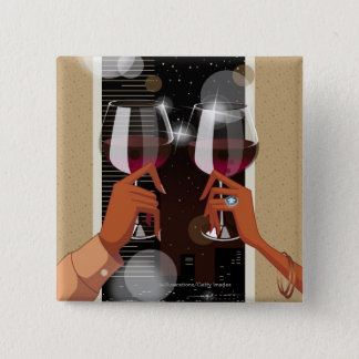 Close-up of a couple's toasting with wine glasses 15 cm square badge