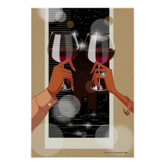 Close-up of a couple's toasting with wine glasses poster