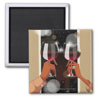 Close-up of a couple's toasting with wine glasses square magnet