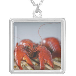 Close-up of a crab on sticks silver plated necklace