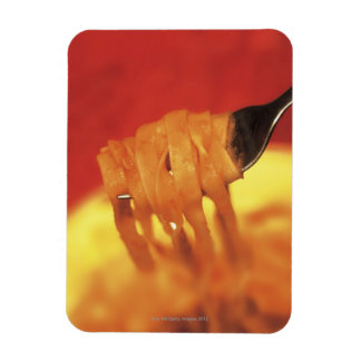 close-up of a forkful of pasta rectangular photo magnet