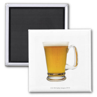 Close up of a glass of beer 2 square magnet