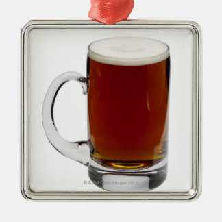 Close up of a glass of beer 3 Silver-Colored square decoration