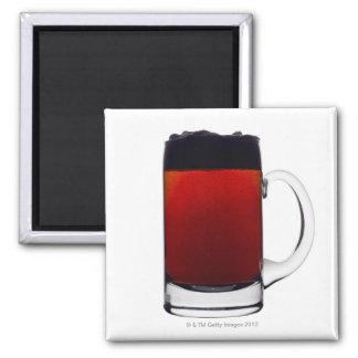 Close up of a glass of beer square magnet