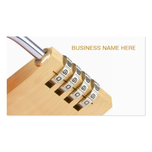 close up of a gold combination closed padlock business cards