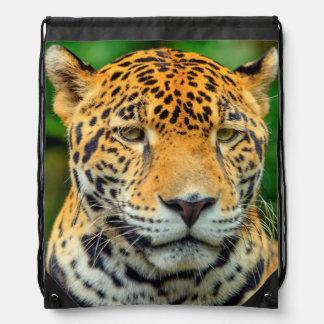 Close-up of a jaguar face, Belize Drawstring Bag