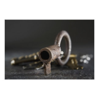 Close-up of a key in a key ring poster