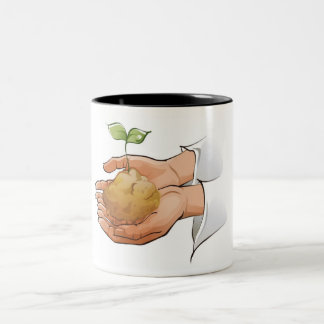Close-up of a person's hands holding seedling Two-Tone coffee mug