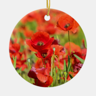 Close-up of a Poppy field, France Christmas Ornament