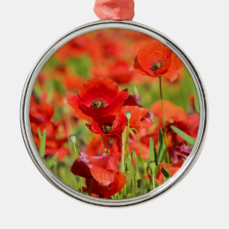 Close-up of a Poppy field, France Silver-Colored Round Decoration