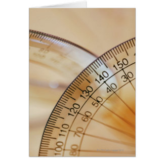 Close-up of a protractor card