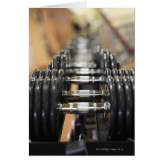 Close-up of a row of dumbbells card