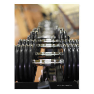 Close-up of a row of dumbbells postcard