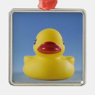 Close-up of a rubber duck christmas ornament