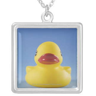 Close-up of a rubber duck silver plated necklace