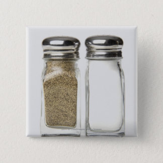 Close-up of a salt and a pepper shaker 15 cm square badge
