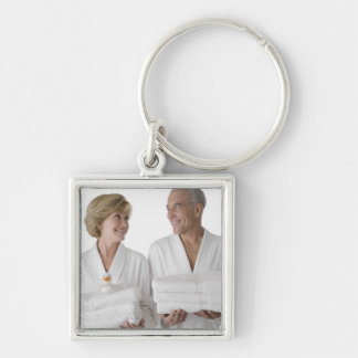 Close-up of a senior man with a mature woman Silver-Colored square key ring