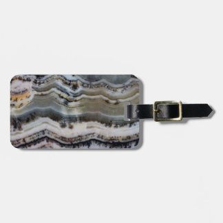 Close up of a Silver Lace Onyx Luggage Tag