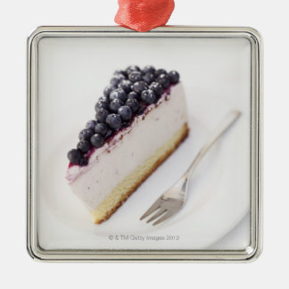 Close-up of a slice of blueberry cheese cake christmas ornament