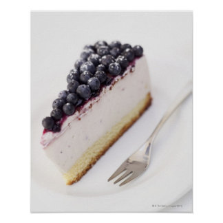 Close-up of a slice of blueberry cheese cake poster