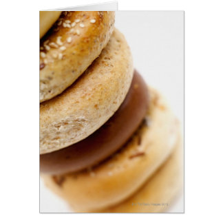 Close-up of a stack of assorted bagels card