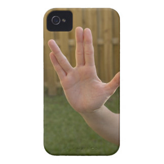 Close-up of a woman's hand making a hand sign iPhone 4 case