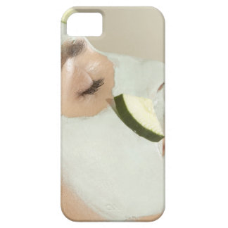 Close-up of a young woman wearing a facial mask iPhone 5 case