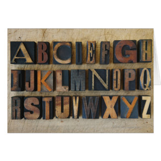 Close up of alphabet on letterpress 2 card