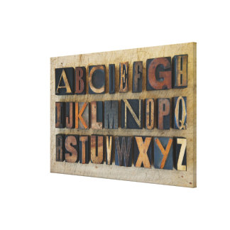 Close up of alphabet on letterpress 2 gallery wrap canvas