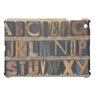 Close up of alphabet on letterpress 2 iPad mini cover