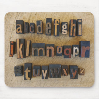Close up of alphabet on letterpress 2 mouse mat